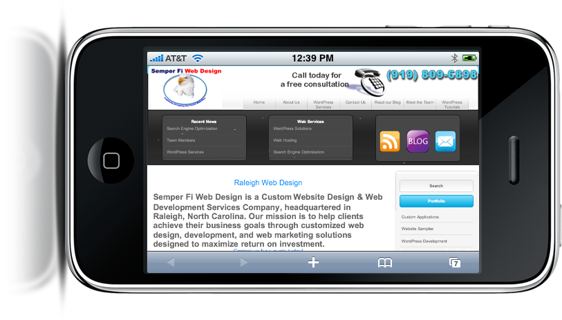 iPhone Semper Fi Web Design