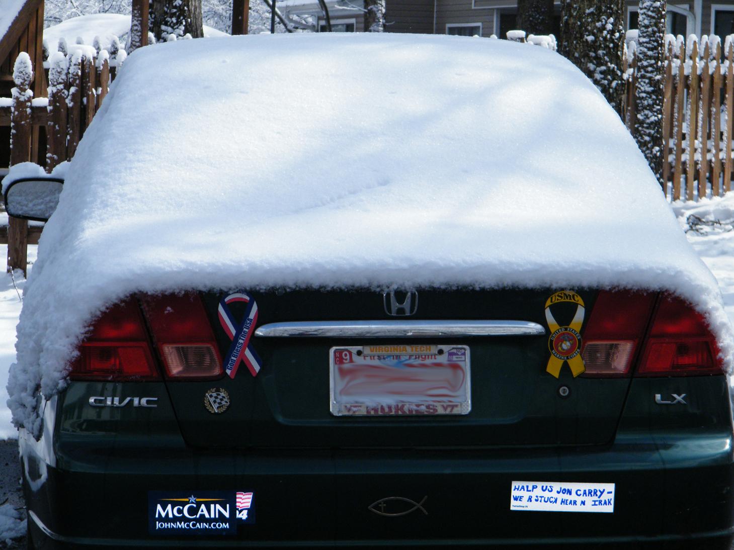 snowed honda civic